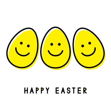 Three Easter eggs. Smiling faces. Easter greeting card. Vector illustration.