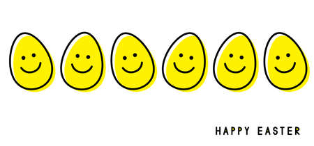 Easter eggs. Smiling faces. Easter greeting card. Vector illustration.
