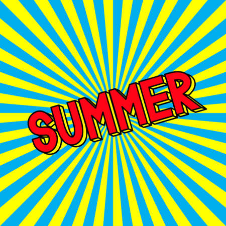 Summer in the radiating rays. Pop art style. Vacations and holidays. Vector illustration.