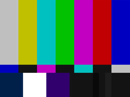 Test pattern. NTSC test card. TV color bars. Television screen error. No signal. Vector illustration.