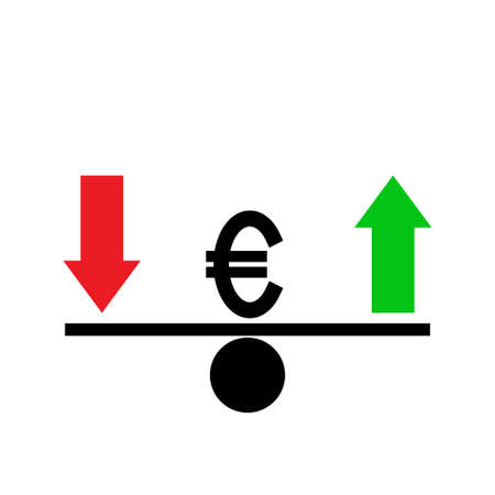 Seesaw. Euro exchange rate fluctuation concept. Vector illustration.
