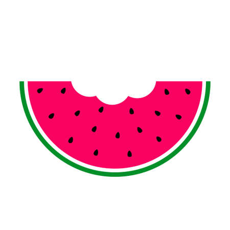 Watermelon slice. Pink pulp, black seeds and green rind. Vector illustration.