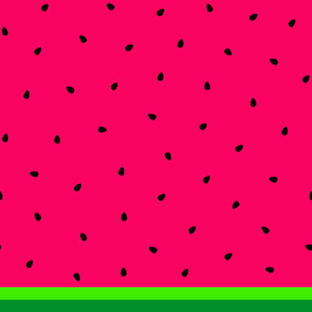 Watermelon seeds and rind (skin) background. Black watermelon seeds on the pink background, striped dark and light green rind. Vector illustration.