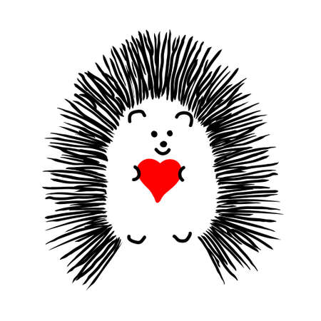 Hedgehog holding a heart. Hedgehugs. Love and romance. Happy Valentine Day's card. Vector illustration.