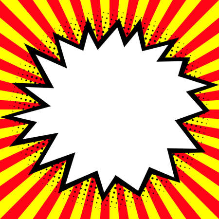 Speech bubble in the pop-art explosion (burst). Comic cartoon style. Red and yellow rays. Vector illustration.