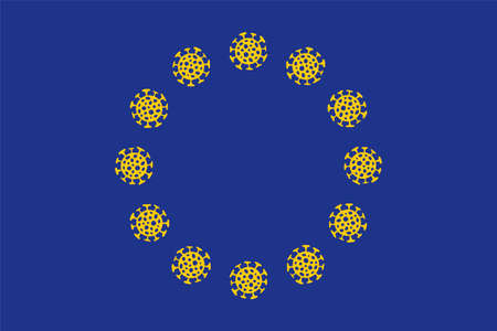 Flag of European Union with  virus bacteria. Epidemic  in Europe. Vector illustration.