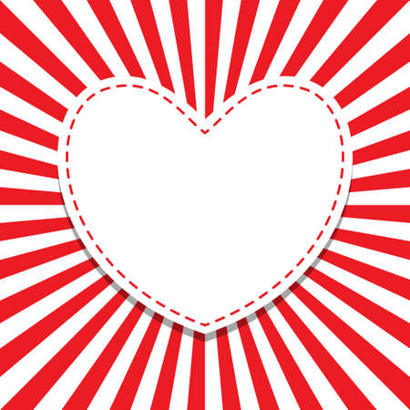 Heart frame radiating red rays. Frame for your love message. Pop-art style. Bright vector illustration.