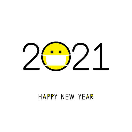 Happy New Year 2021 with smile icon in medical mask.
