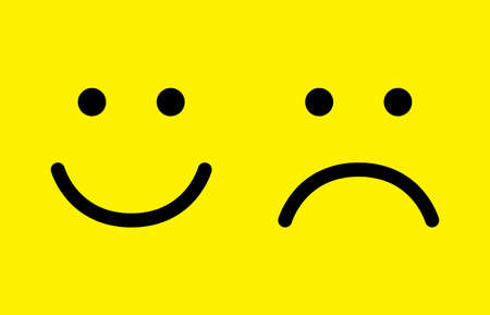 Happy and sad face icons. Smiley. Face symbols. Flat style. Vector illustration. Ilustrace