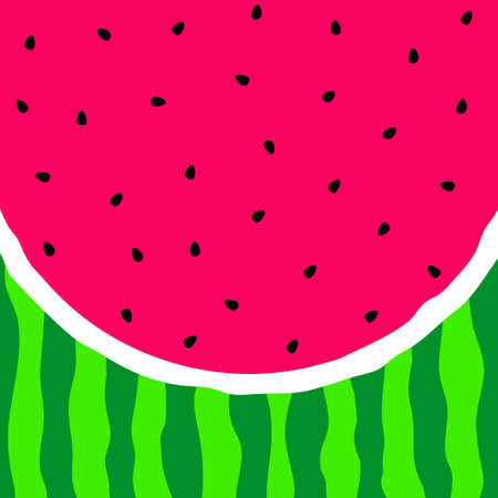 Watermelon background. Pink pulp, black seeds and green rind. Watermelon slice. Vector illustration. Ilustrace