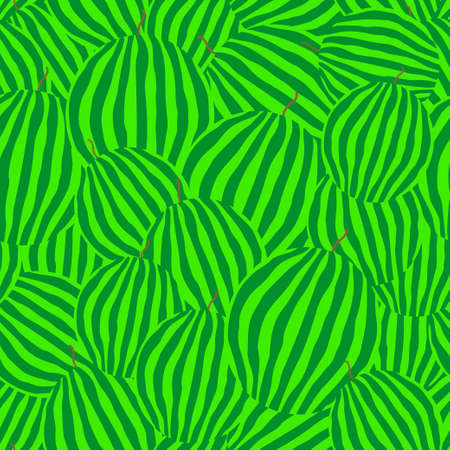 Whole watermelons seamless pattern. Striped light and dark green rind. Vector illustration. Ilustrace
