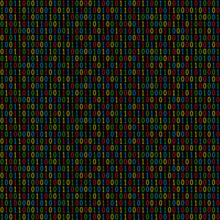 Binary code seamless pattern. Computer background with 1 and 0 numbers. Color numbers. Data and technology. Vector illustration.