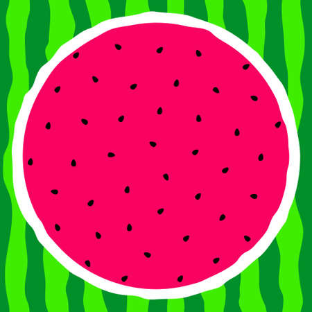 Cut watermelon. Pink pulp, black seeds and green rind. Vector illustration. Ilustrace