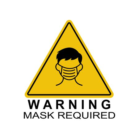 People face with mask icon vector in isolated on white background. Notice Safety sign, Wear dust mask