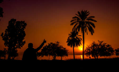 all ok: Sunset at the sea of Galilee