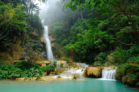 Waterfall, Kouangxi Waterfall in Laos photo