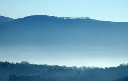 mountains covered in mist photo