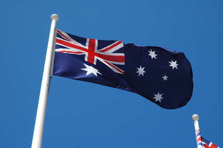 without clouds: australian flag waving, blue sky without clouds, soffit Stock Photo