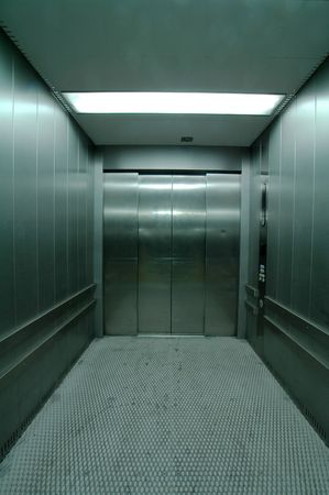 steel shiny elevator, used for heavy loads,