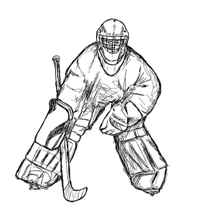black and white goal-keeper drawing, goal-keeper ready for a shot