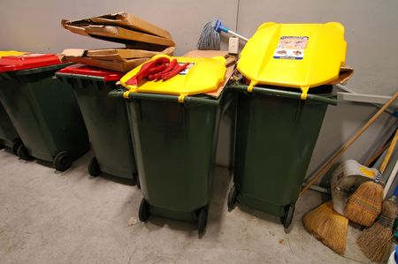 garbage room, yellow and red bins; I worked as a cleaner in Sydney .. :-) Stock Photo - 758490
