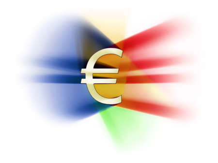 euro sign in the middle, various colour lights,  white background photo