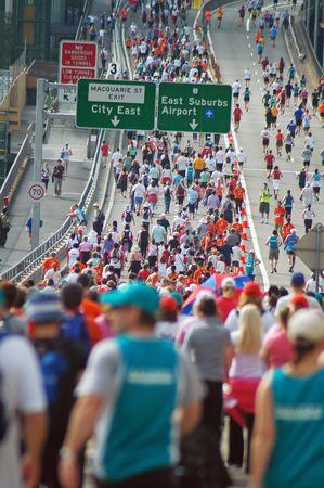 marathon in Sydney, overhead Circular Quay, crowded Stock Photo