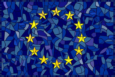 I created this european flag to look like a glass mosaic.