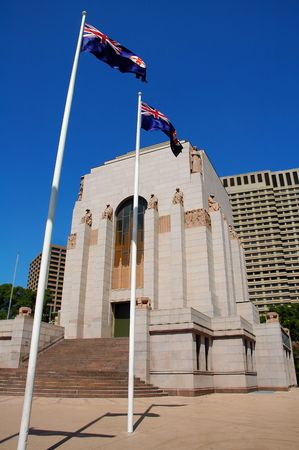 hyde: Anzac War Memorial in Hyde Park, Sydney, australian flags,  Editorial