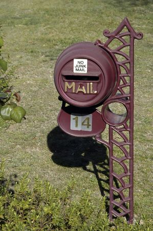 old steel mailbox with NO JUNK MAIL inscription Stock Photo - 791828
