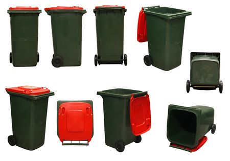 several red garbage bins isolated on white background Stock Photo - 791818