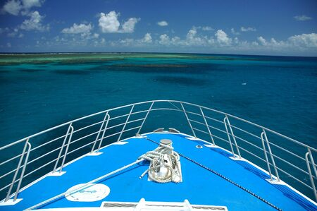 bow of a blue ship, great barrier reef near Cairns, Australia Stock Photo - 791816