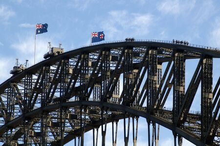 sydney harbour bridge: bridge walking on harbour bridge in sydney, australian flags