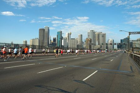 sydney marathon, runners just passed harbour bridge and are running to sydney cbd Stock Photo