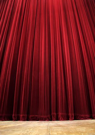 red clean closed velvet curtain, wooden floor, simple scene