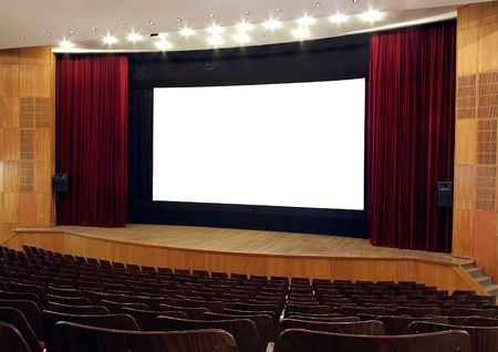 cinema; wooden walls and chairs, red velvet curtain, white empty screen,