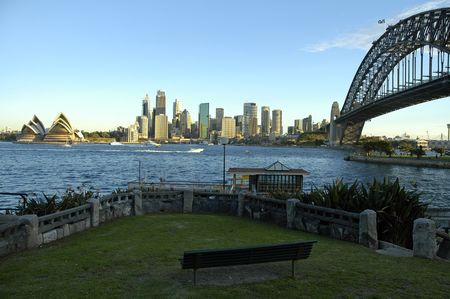 famous sydney landmarks; harbour bridge, opera house and sydney tower, photo taken from Kirribilli Stock Photo