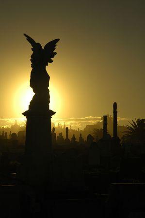 memorial cross: angelo silhouette, tonalit� di colore giallo e nero, Sydney cimitero Archivio Fotografico