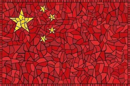 shanghai china: China national flag created as window-pane; original size ratio -  2:3 Illustration