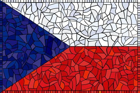 Czech republic national flag created as window-pane; original size ratio -  2:3 Illustration