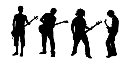 black silhouettes of four young guitar players Stock Vector - 2486504
