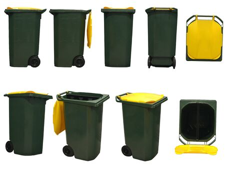green garbage bins with yellow cover isolated on white background