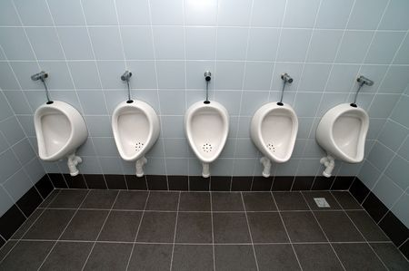 public restroom: urinal man five clean toilets, no other objects