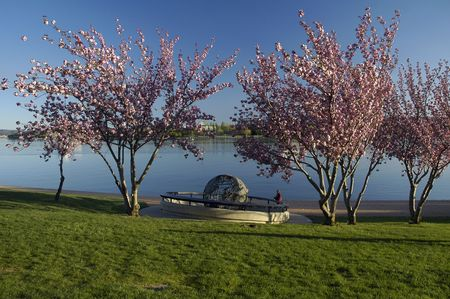 canberra: Captain Cook Memorial Globe located on the shores of Lake Burley Griffin in Canberra, Australia Stock Photo