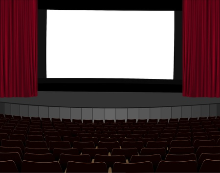 classical theater: illustration of empty cinema screen in empty cinema hall Illustration