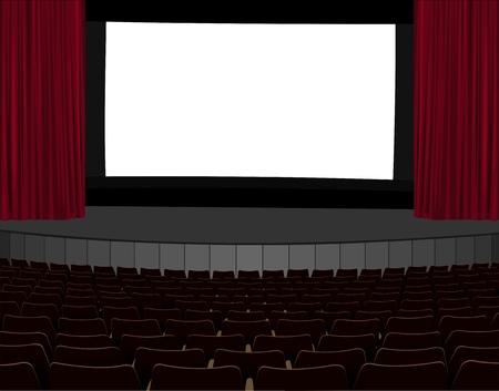 illustration of empty cinema screen in empty cinema hall Illustration