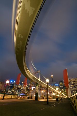 Sydney monorail, blurred train in motion, Stock Photo - 2860579