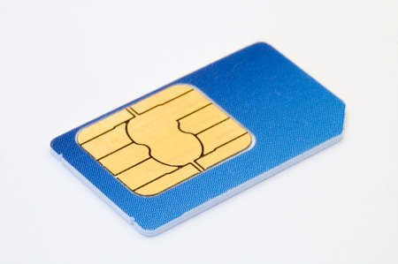 sim: blue sim card isolated on white background