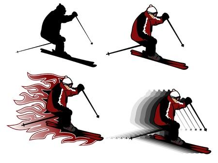 four skiing man illustrations, adult man Vector