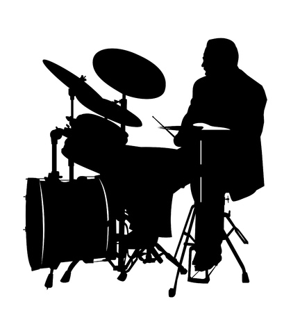 stage set: black drummer silhouette, high details